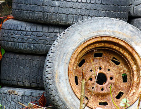 After replacing the car tires, where did the old tires go?